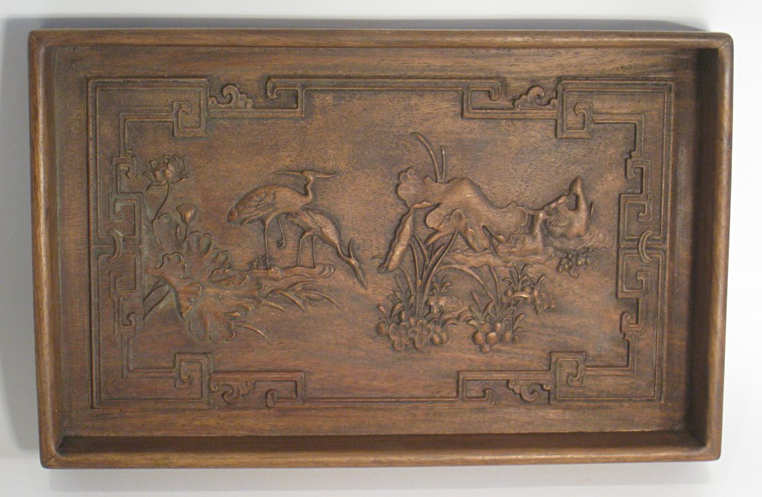 53: Carved Hardwood Chinese Tray