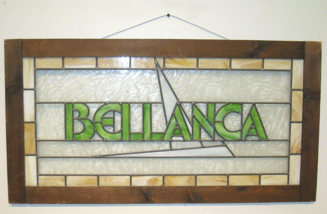 223: Stained Glass Bellanca Sign - 4
