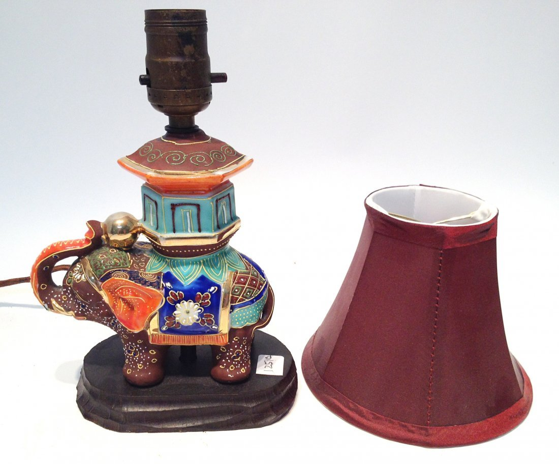 283: Ceramic Elephant Lamp With Shade