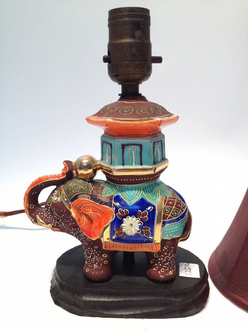 283: Ceramic Elephant Lamp With Shade - 2