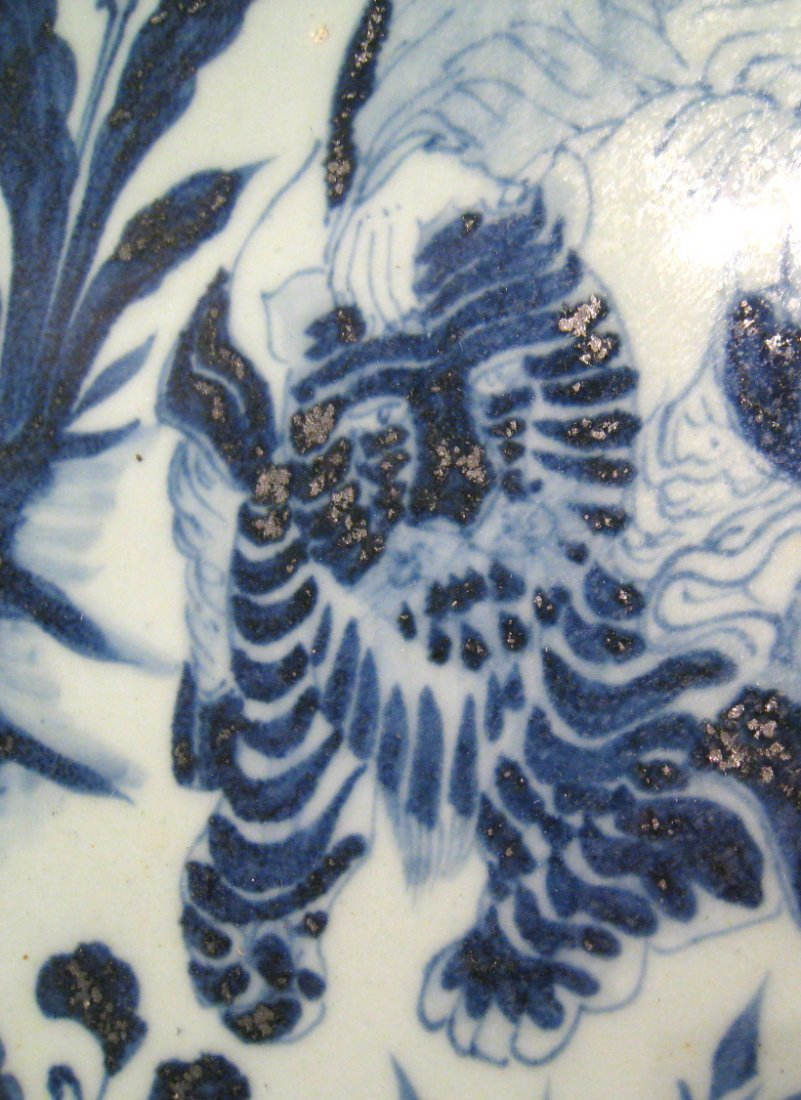 Chinese Antique Blue & White Porcelain Charger - 2