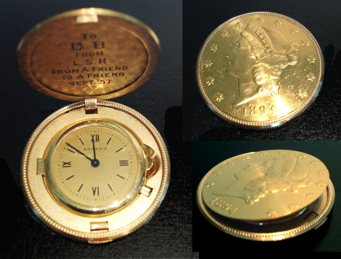 Remarkable Gold Coin Watch By Agassiz