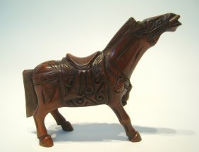 Chinese Carved Horn Horse