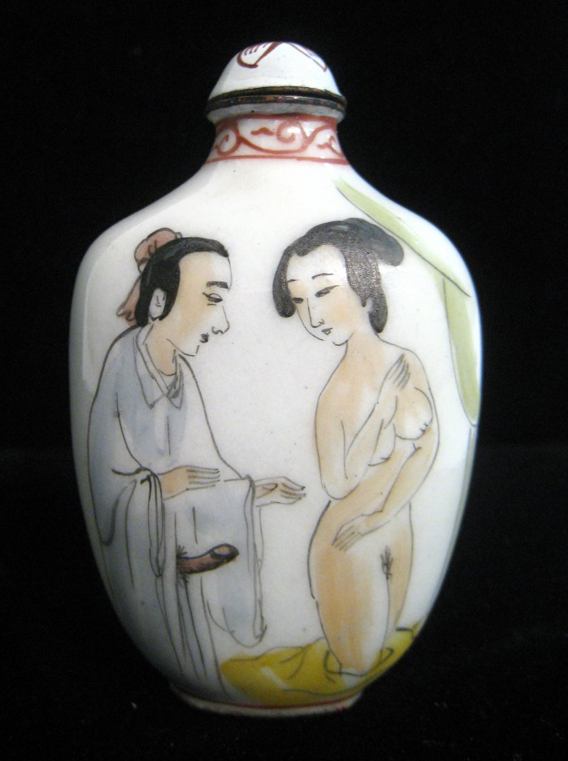 Chinese Porcelain Erotic Snuff Bottle