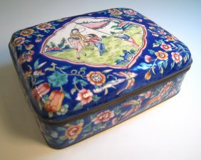 Dark Blue Chinese Enamel Lidded Box