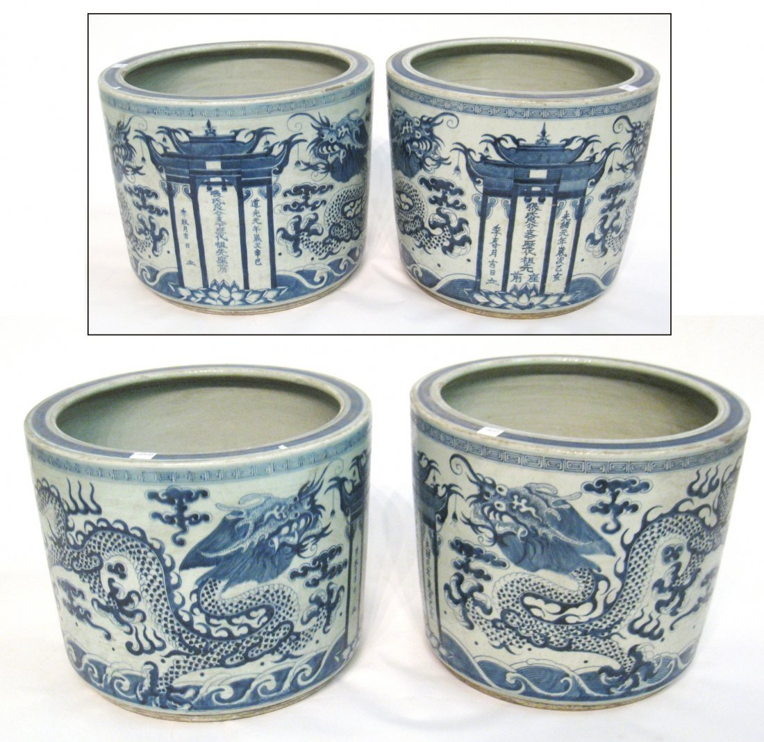 Pair Chinese Porcelain Blue & White Jardinieres