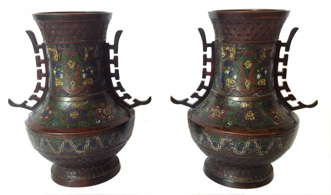Pair Of Chinese Cloisonné Vases.