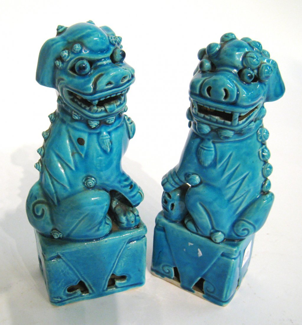 Pair Of Modern Chinese Blue Foo Dogs