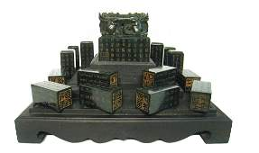 Chinese Qing Imperial Green Jade Seals In Zitan Box