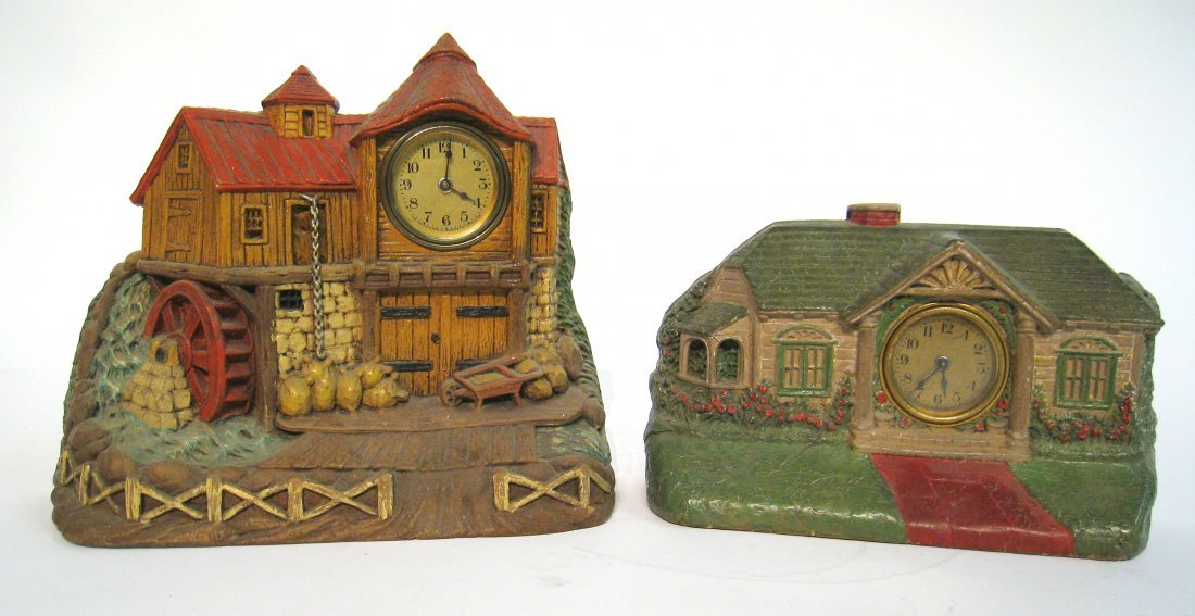 "Two Painted Carved ""House"" Clocks By Lux"