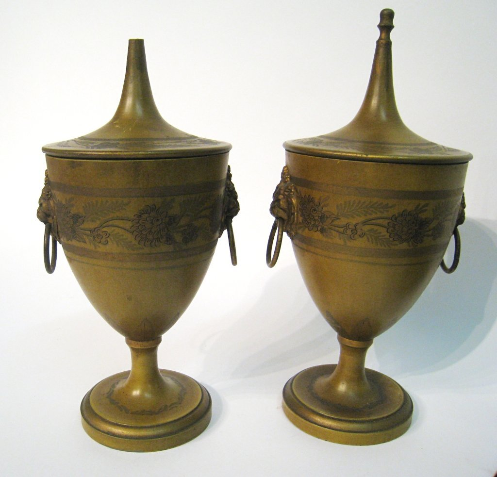 Pair Of Tole Painted Urns