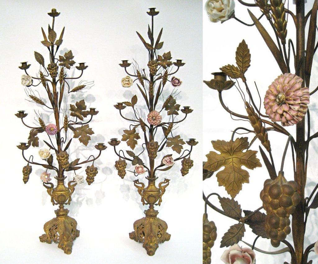 Pressed Brass And Ceramic Candelabra