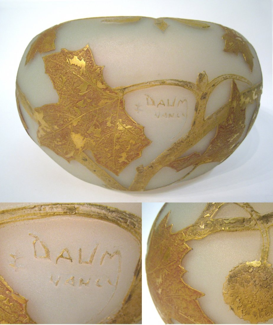 Etched & Gilt  Daum Nancy Bowl