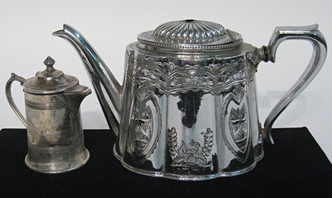 Silver Plate Tea Pot And Lidded Creamer