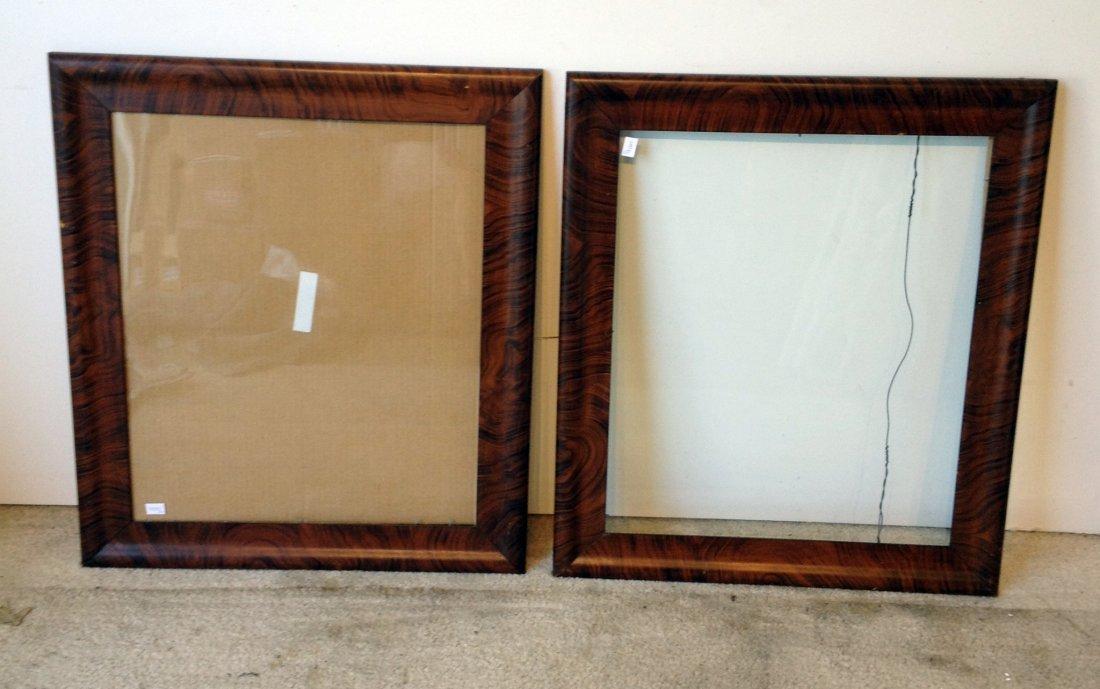 Pair Rosewood Faux Grain Folk Art Frames