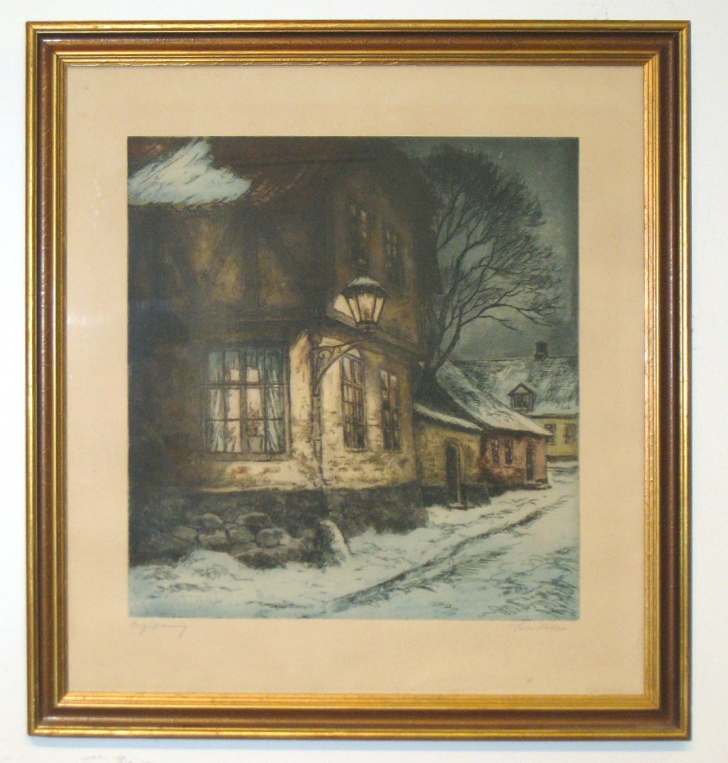 Colored Etching Signed Malles