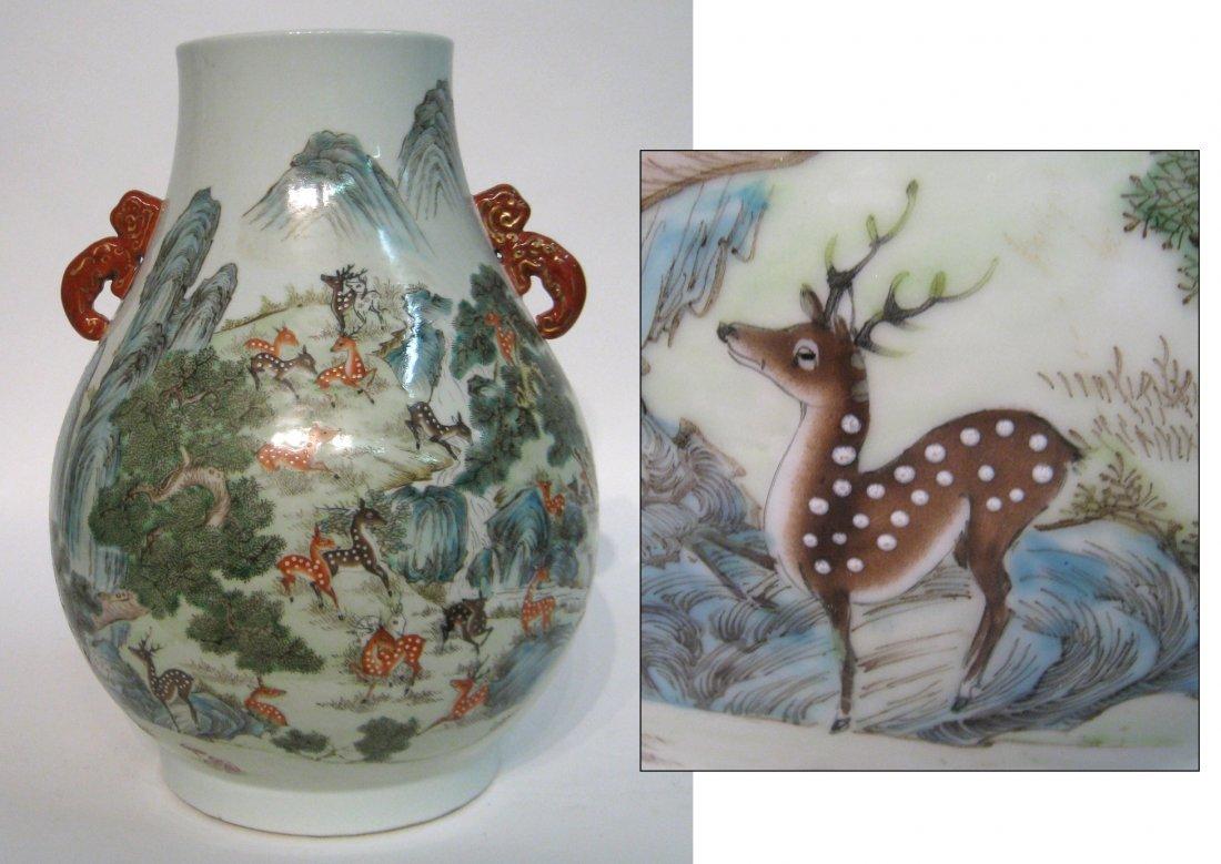 100 Deer Famille Verte Enamel Vase