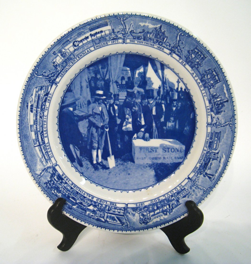 Commemorative Blue And White Plate