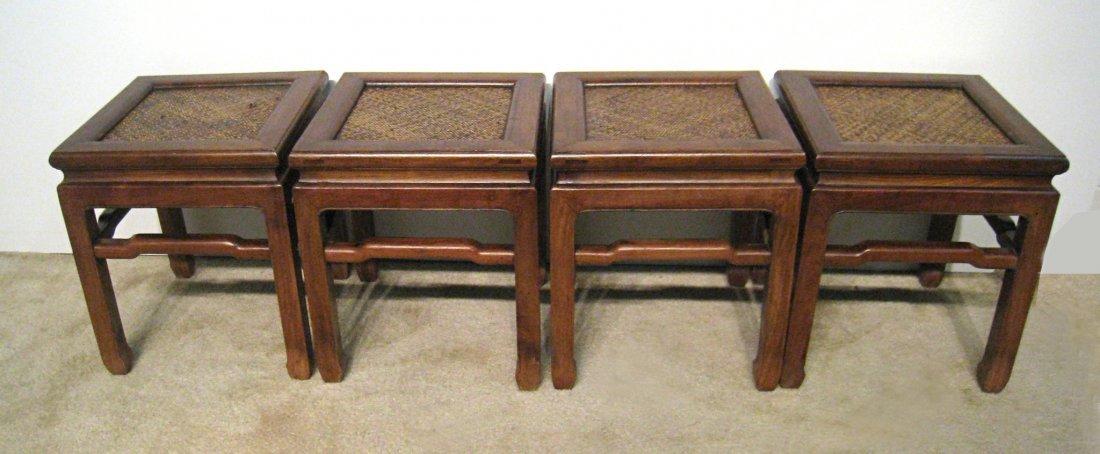 Four 18th Century Rush Seat Huanghuali Stools