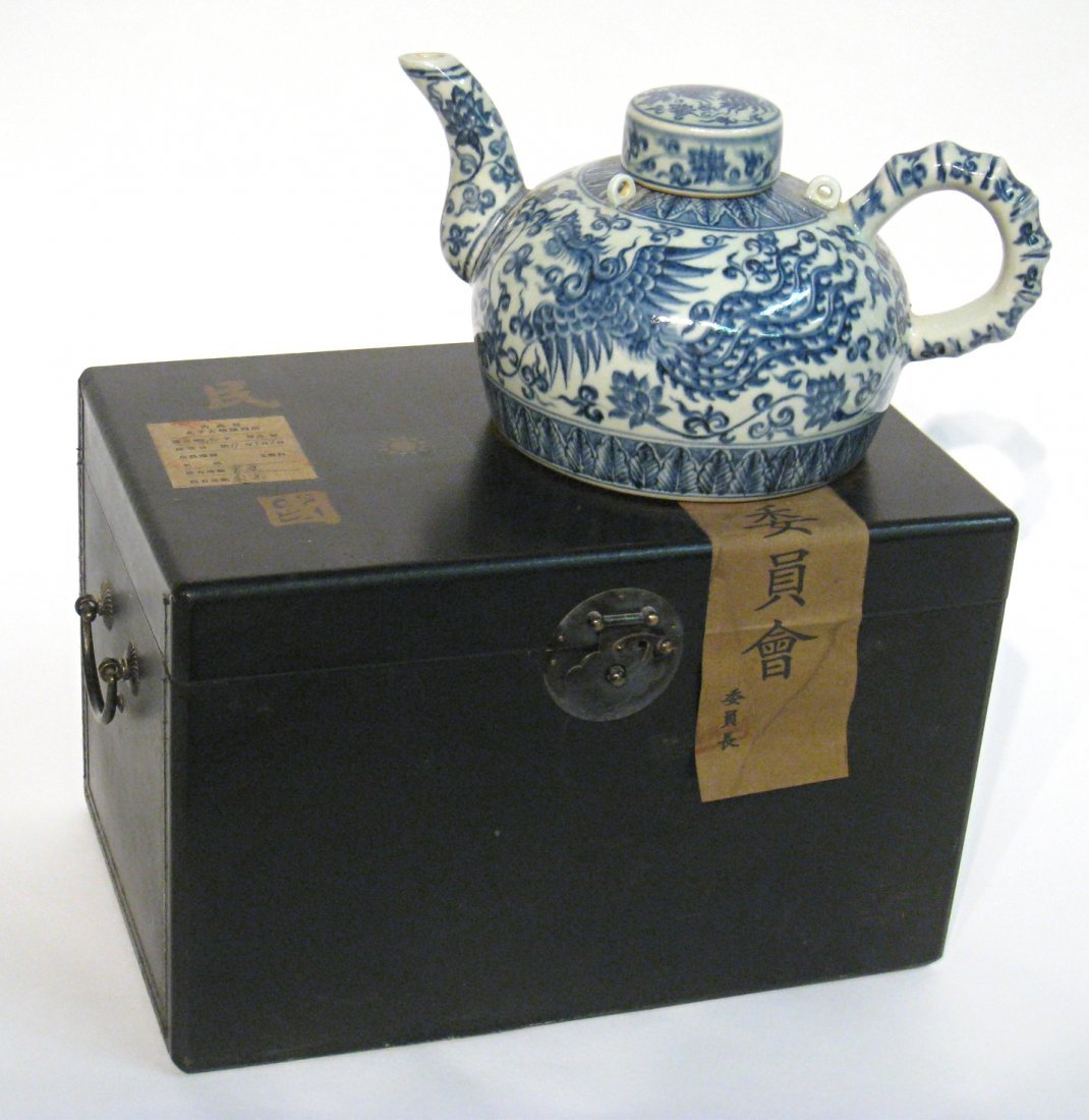 Blue & White Chinese Teapot In Museum Box
