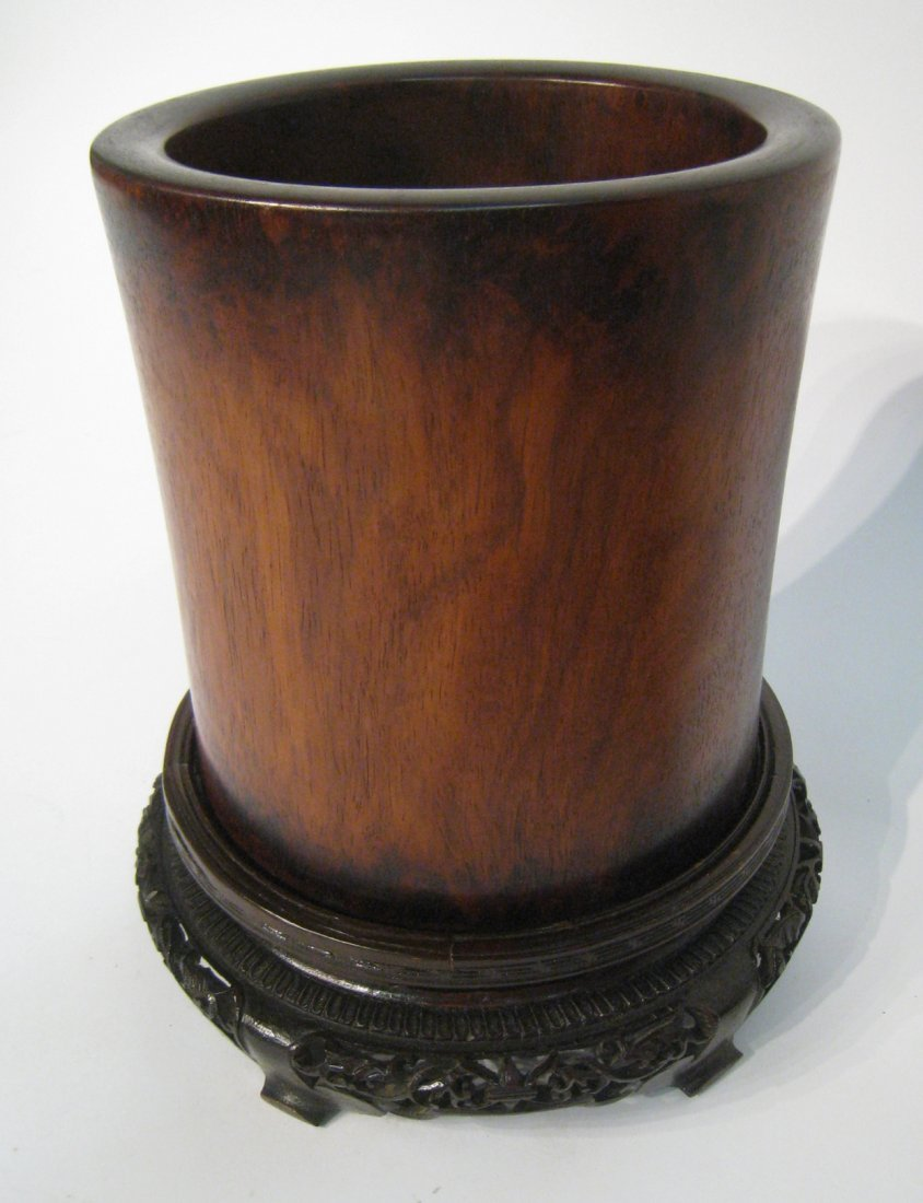 Chinese Huanghuali Brush Pot With Stand