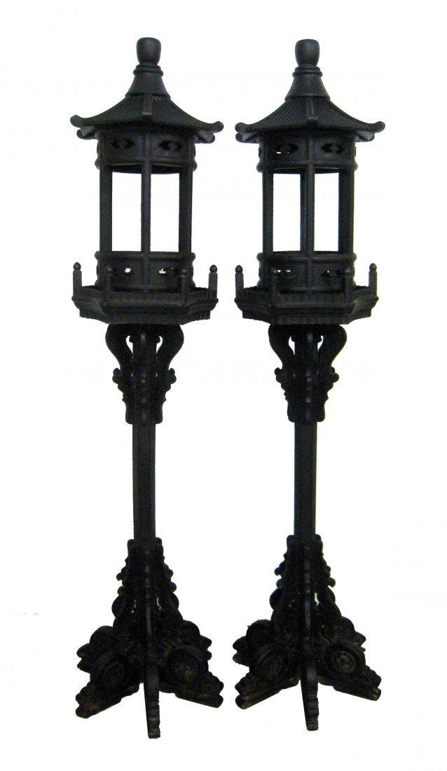 Pair Of Large Chinese Zitan Lanterns
