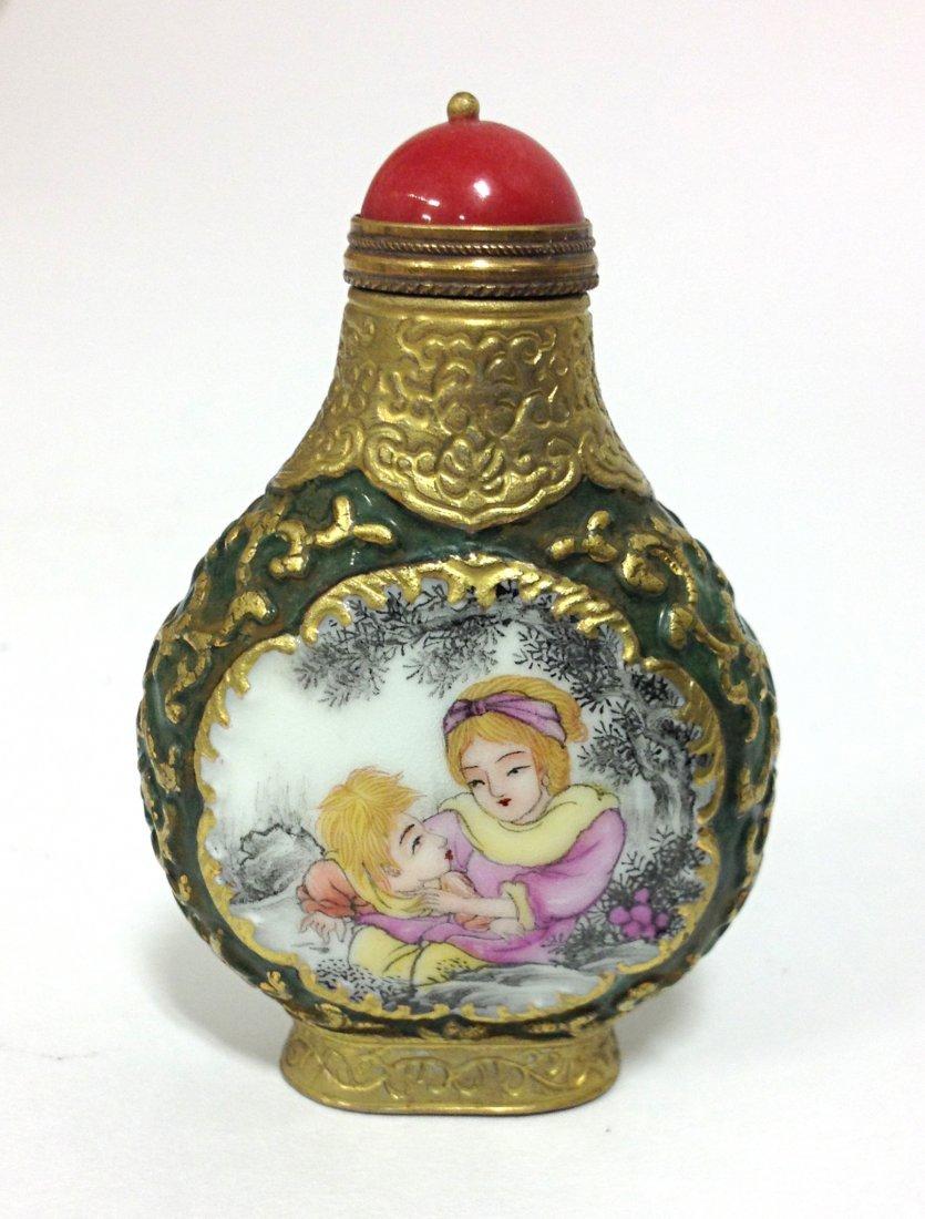 Porcelain, Enamel, Gold Gilt Snuff Bottle