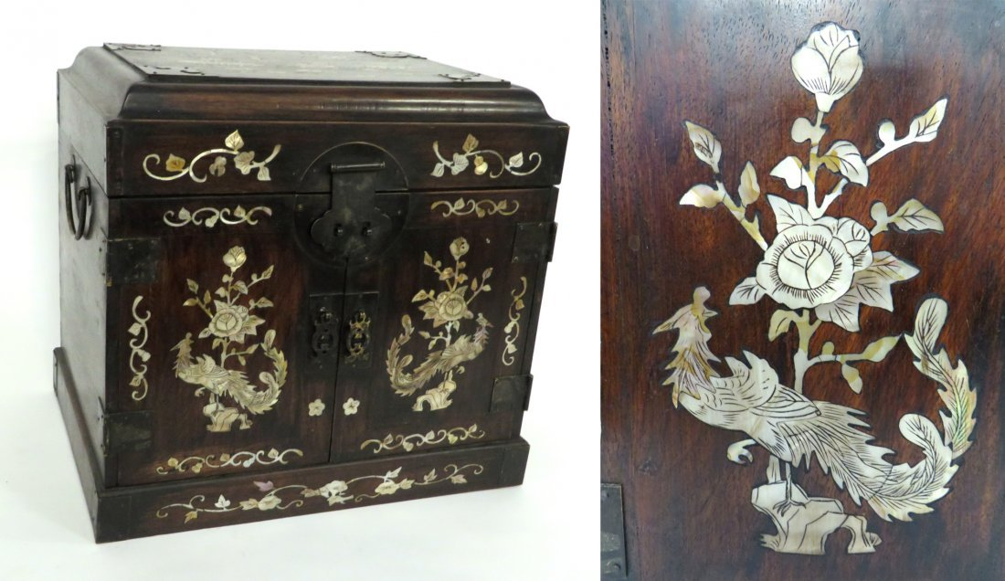 Chinese Huanghuali & Mother Of Pearl Jewelry Chest