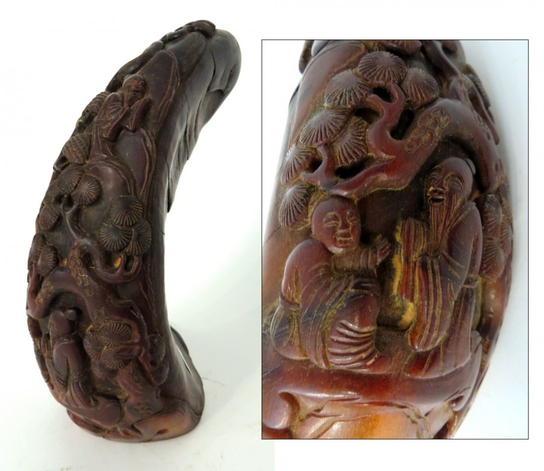 Chinese Man & Pine Trees Carved Horn