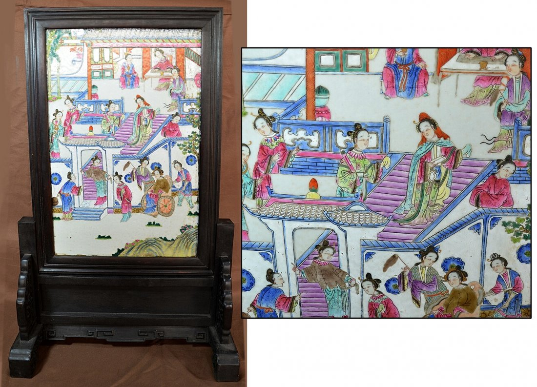Chinese Zitan Table Screen With Mounted Porcelain