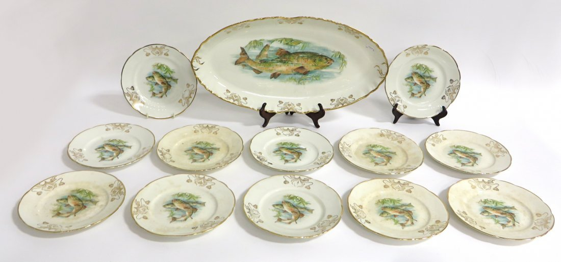 Hand Painted Syracuse Fish Plates with Platter