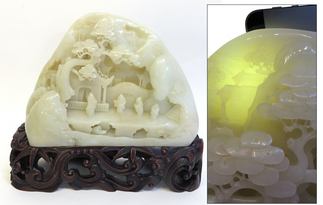 Massive Hetian White Jade Carving