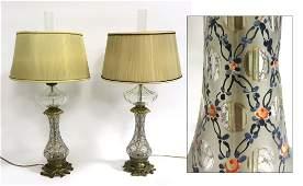 Pair Of Antique Venetian Glass Lamps