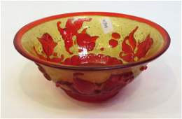 Fine Gold Flake Peking Glass Bowl