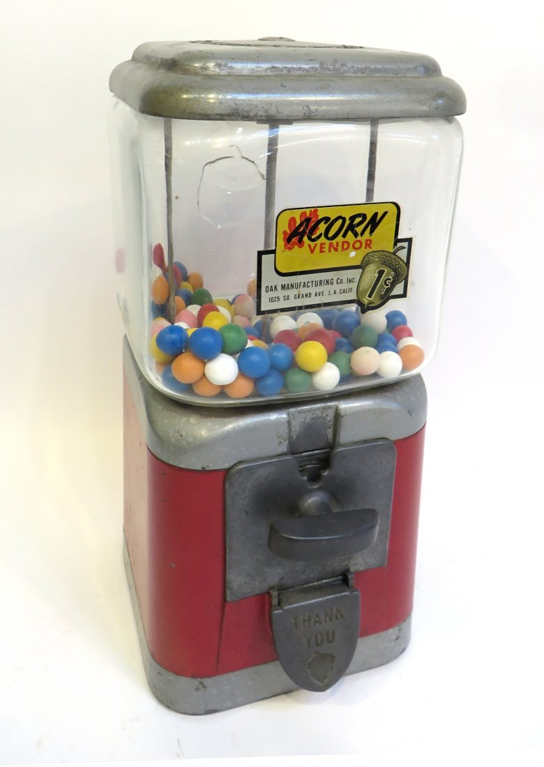 Vintage Acorn Vendor Gumball Machine By Oak Mfg/Co