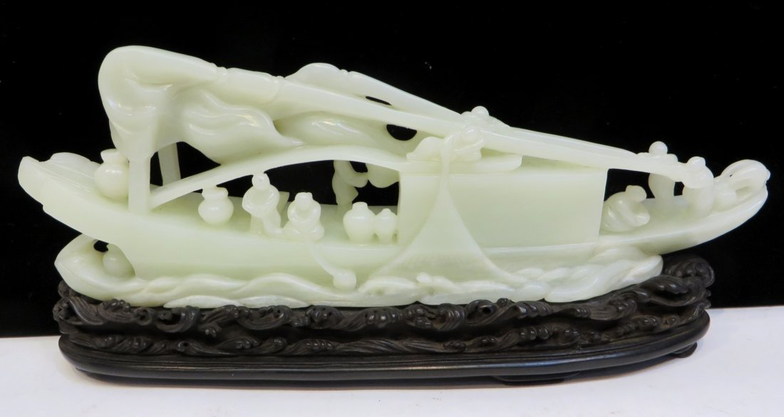 19th C. White Jade Boat