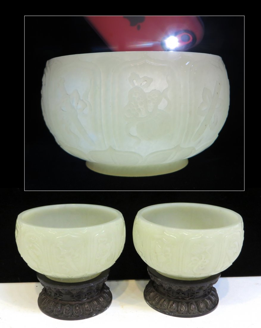 Pair White Jade Bowls With Stands