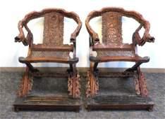 Pair Large Huang Hua Li Folding Chairs