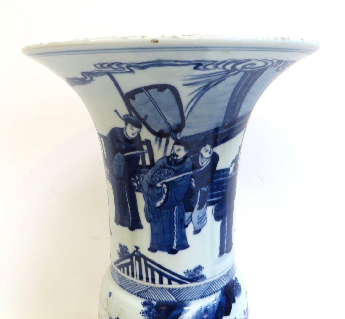 Blue & White Porcelain Gu Vase - 2