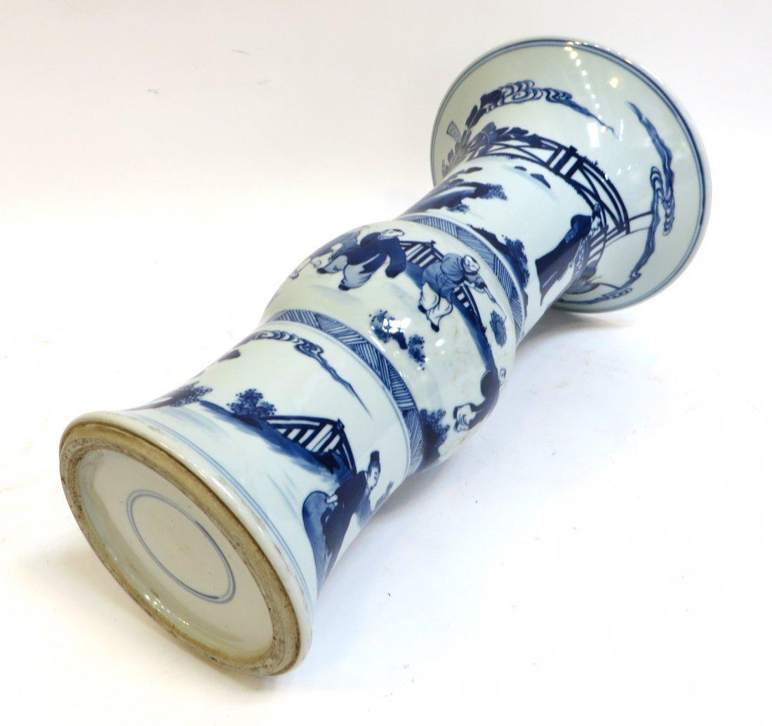 Blue & White Porcelain Gu Vase - 5