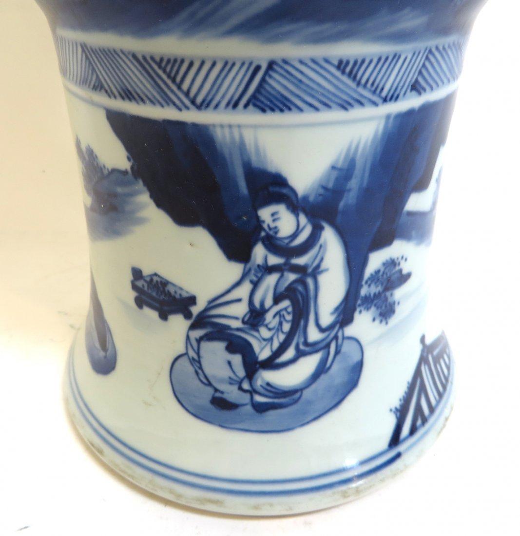 Blue & White Porcelain Gu Vase - 6