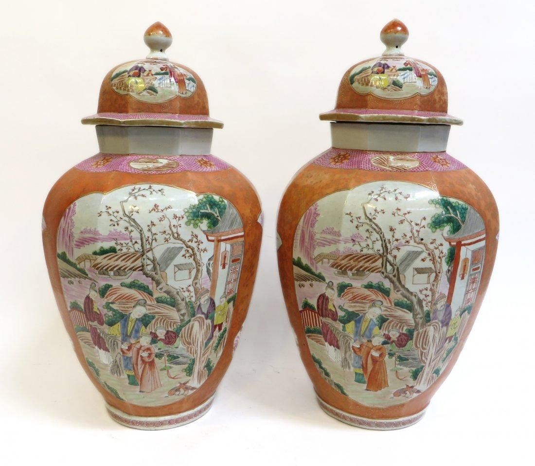 Pair Lidded Tea Jars