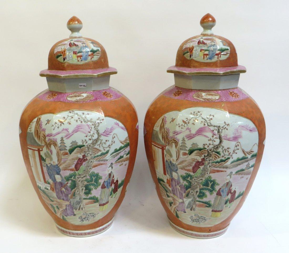 Pair Lidded Tea Jars - 5
