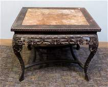 Antique Asian Carved Rosewood End Table