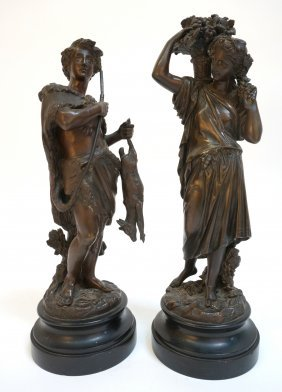 French Garniture Bronzes Signed By Emile Boyer