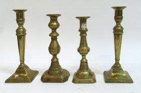 Four Antique 19th C. Spun Brass Candlesticks