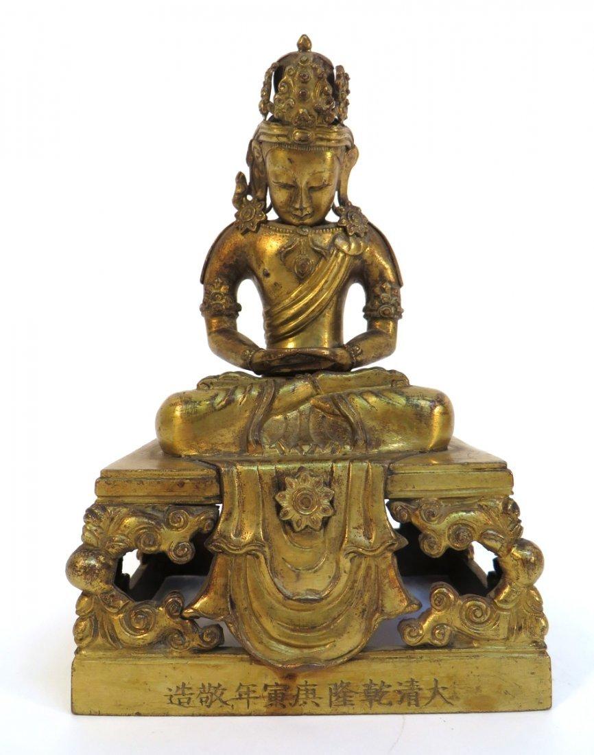 18th C. Gilt Bronze Buddha Figure