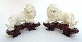 Pair Of 19th C. Ivory Lions On Stands