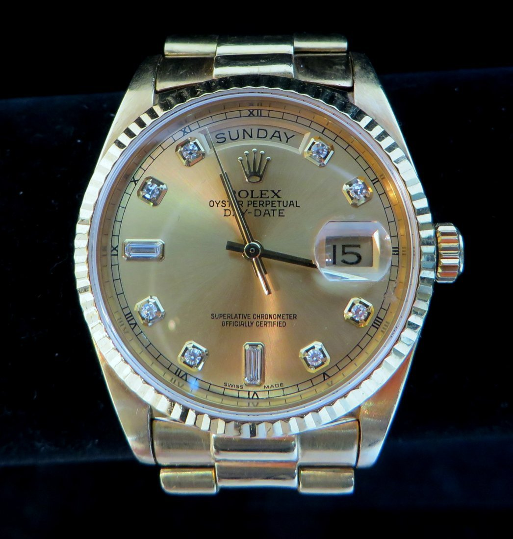 """Rolex 18K  """"President"""" Oyster Perpetual Day-Date Watch"""