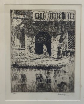 "James Mc Bey Etching ""doorway, Venice"""